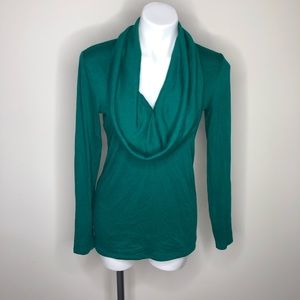 Ann Taylor Green Cowl Neck Sweater Medium